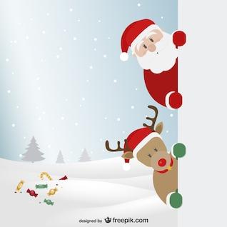 Le Père Noël et les rennes avec le paysage d'hiver