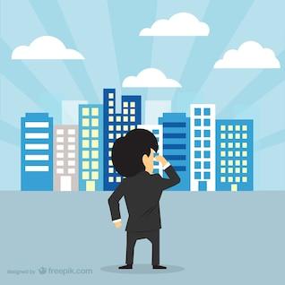 Homme d'affaires regardant toits de la ville