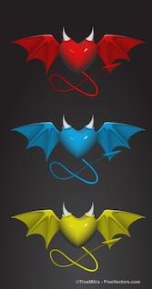 Trois coeurs de diable avec la queue