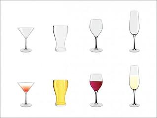 les verres et les boissons