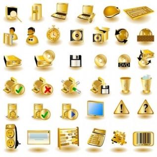 Belle ordinateur icônes vecteur d'or