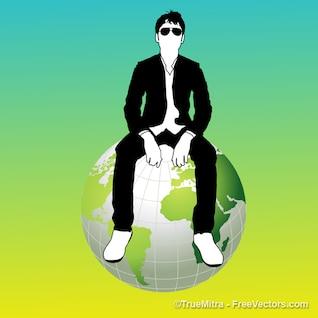 Homme assis sur le globe terrestre
