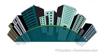 Bâtiments de la ville de punaises