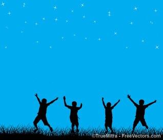 Enfants jouant sur le ciel étoilé