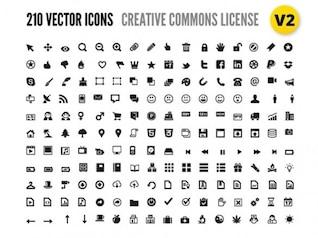 210 vecteurs icônes avec licence Creative Commons
