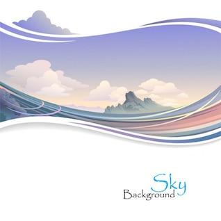 Paysage ondulé avec la montagne et les nuages