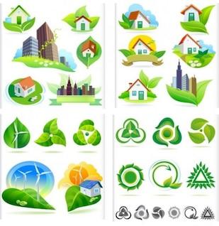 Bio icônes de la nature verts