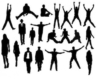 Personnes en silhouettes d'action