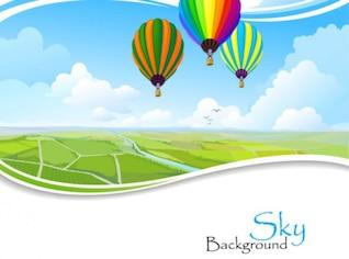 Paysage panoramique avec air ballons fond