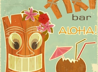 Tiki bar Aloha Beach vecteur jeu de fond