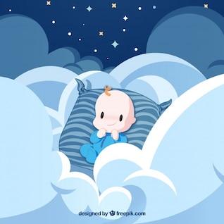Ange de bébé avec des nuages et des rayures bleues