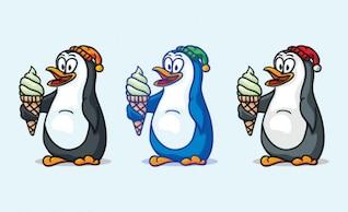 Pingouins de bande dessinée mangeant de la crème glacée