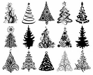 ensemble de noël graphique vectoriel arbres