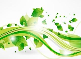 vecteur feuilles éco et vague verte