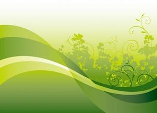floral vert sur fond vecteur d'onde