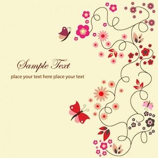 vecteur libre carte de voeux florale