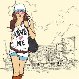 illustration vectorielle fashion girl