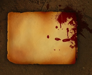 vieux papier grungy avec le rouge éclaboussures psd