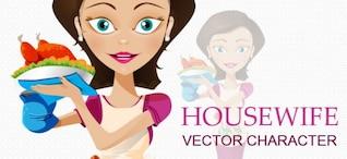 caractère vectoriel femme au foyer