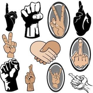 Main et des doigts signes de collecte graphique