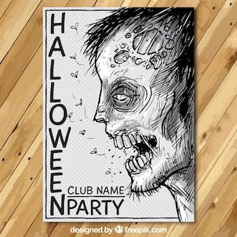 Affiche de partie de Halloween avec un zombie dessiné à la main