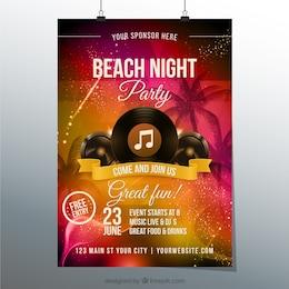 Affiche nuit de fête à la plage
