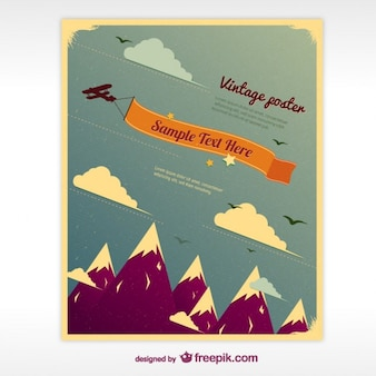 Affiche vintage avec des montagnes
