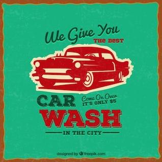 affiches de lavage de voitures dans le style rétro