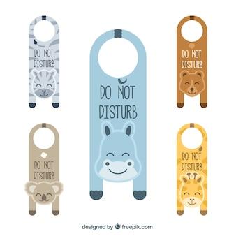 Affichettes de porte avec de beaux animaux