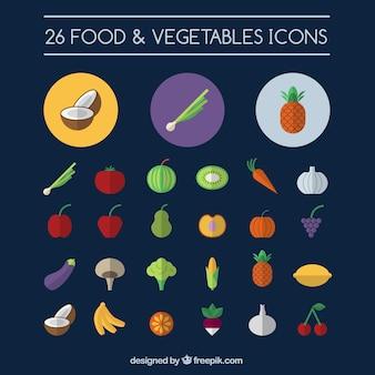 Alimentation et légumes icônes