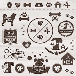 Animaux vecteur icône de chien ensemble
