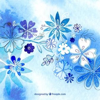 Aquarelle fond floral dans les tons bleus