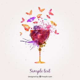 Aquarelle verre de vin et de papillons