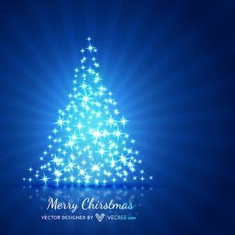 Arbre de Noël brillant avec des étoiles bleues