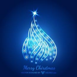 Arbre de Noël brillant avec des flocons de neige