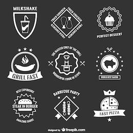 Autocollants et badges de menu rétro collection