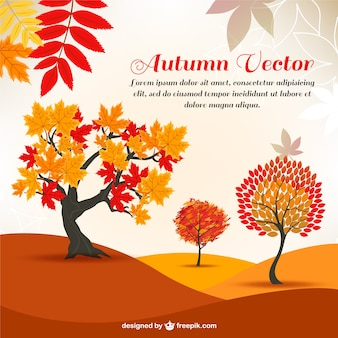 arbres de bande dessinée d'automne en arrière-plan