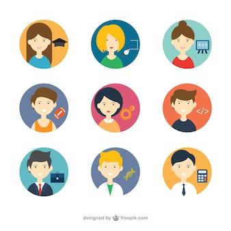 Avatars avec différentes professions