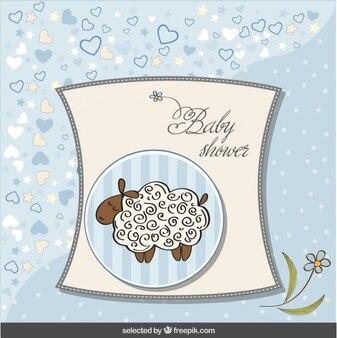 Baby shower carte bleue avec des moutons mignon