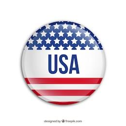 Badge avec le drapeau usa
