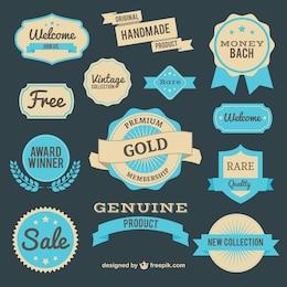 Badges de marketing de vecteur et de boucliers