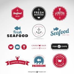 Badges vecteur de fruits de mer