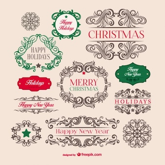 Badges vintages de Noël