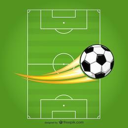Ballon de soccer de vecteur sur le terrain