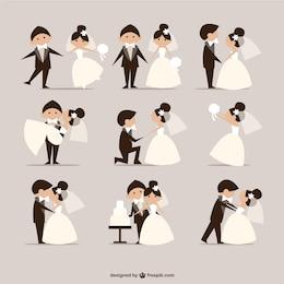 bande dessinée de mariée de style des éléments vecteur