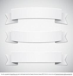Banderoles en papier rétro blanc