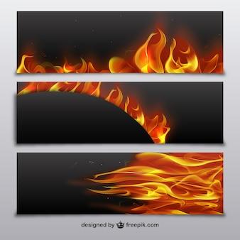 Bannières avec des flammes de feu