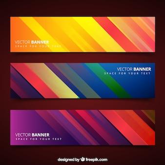 Bannières avec des rayures colorées