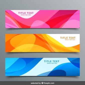 Bannières colorées ondulées