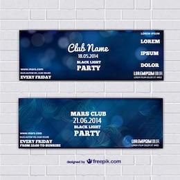 Bannières de modèle de billet avec fond bleu abstrait